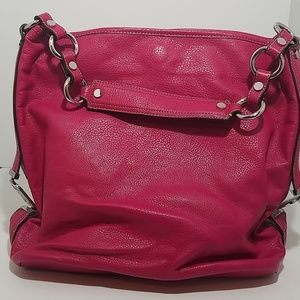 Dana Buchman Hot Pink Vegan Leather Slouch Tote